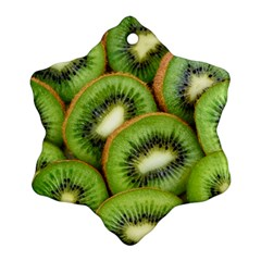 Sliced And Open Kiwi Fruit Snowflake Ornament (two Sides)