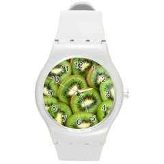 Sliced And Open Kiwi Fruit Round Plastic Sport Watch (m)