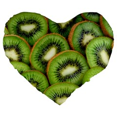 Sliced And Open Kiwi Fruit Large 19  Premium Heart Shape Cushions by goodart