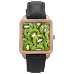 Sliced And Open Kiwi Fruit Rose Gold Leather Watch