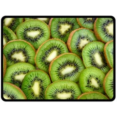 Sliced And Open Kiwi Fruit Double Sided Fleece Blanket (large)  by goodart