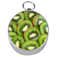 Sliced And Open Kiwi Fruit Silver Compasses by goodart
