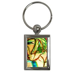 Girl In A Blue Tank Top Key Chains (rectangle)