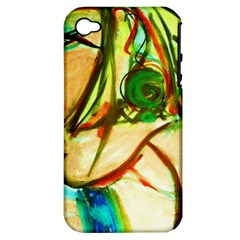 Girl In A Blue Tank Top Apple Iphone 4/4s Hardshell Case (pc+silicone) by bestdesignintheworld