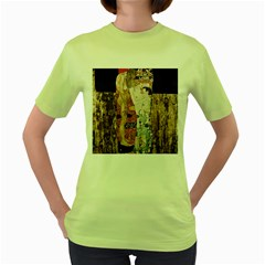 The Three Ages Of Woman  Gustav Klimt Women s Green T Shirt