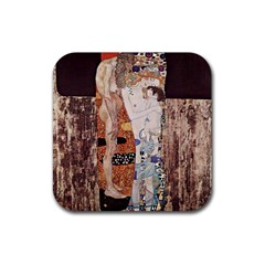 The Three Ages Of Woman  Gustav Klimt Rubber Coaster (square)