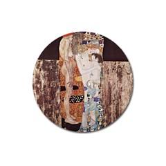 The Three Ages Of Woman  Gustav Klimt Magnet 3  (round) by Valentinaart