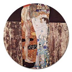 The Three Ages Of Woman  Gustav Klimt Magnet 5  (round) by Valentinaart