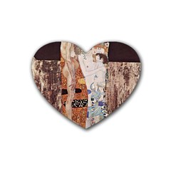 The Three Ages Of Woman  Gustav Klimt Heart Coaster (4 Pack)