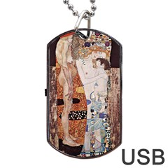 The Three Ages Of Woman  Gustav Klimt Dog Tag Usb Flash (one Side) by Valentinaart