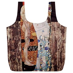 The Three Ages Of Woman  Gustav Klimt Full Print Recycle Bags (l)