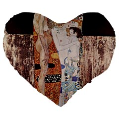The Three Ages Of Woman  Gustav Klimt Large 19  Premium Flano Heart Shape Cushions by Valentinaart
