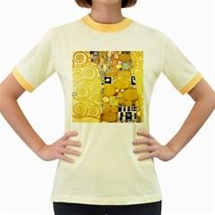 The Embrace   Gustav Klimt Women s Fitted Ringer T Shirts