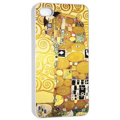 The Embrace   Gustav Klimt Apple Iphone 4/4s Seamless Case (white)