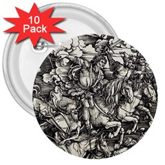 Four Horsemen Of The Apocalypse   Albrecht D¨1rer 3  Buttons (10 Pack)