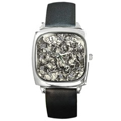Four Horsemen Of The Apocalypse   Albrecht D¨1rer Square Metal Watch