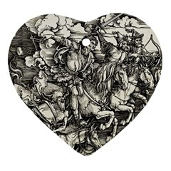 Four Horsemen Of The Apocalypse   Albrecht D¨1rer Heart Ornament (two Sides)