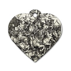 Four Horsemen Of The Apocalypse   Albrecht D¨1rer Dog Tag Heart (two Sides)