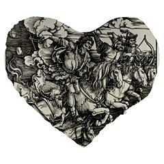 Four Horsemen Of The Apocalypse   Albrecht D¨1rer Large 19  Premium Flano Heart Shape Cushions