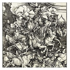 Four Horsemen Of The Apocalypse   Albrecht D¨1rer Large Satin Scarf (square)