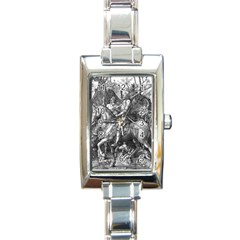 Death And The Devil   Albrecht D¨1rer Rectangle Italian Charm Watch