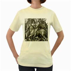 Death And The Devil   Albrecht D¨1rer Women s Yellow T Shirt