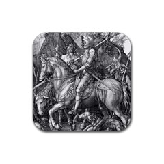 Death And The Devil   Albrecht D¨1rer Rubber Square Coaster (4 Pack)  by Valentinaart