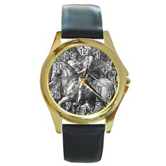 Death And The Devil   Albrecht D¨1rer Round Gold Metal Watch