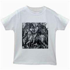 Death And The Devil   Albrecht D¨1rer Kids White T Shirts