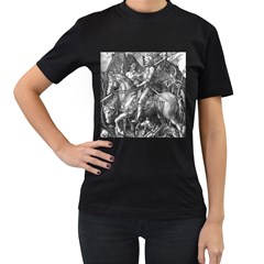 Death And The Devil   Albrecht D¨1rer Women s T Shirt (black) (two Sided)