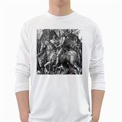 Death And The Devil   Albrecht D¨1rer White Long Sleeve T Shirts