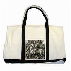 Death And The Devil   Albrecht D¨1rer Two Tone Tote Bag