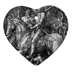 Death And The Devil   Albrecht D¨1rer Heart Ornament (two Sides)