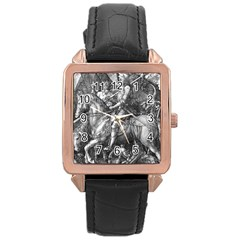 Death And The Devil   Albrecht D¨1rer Rose Gold Leather Watch