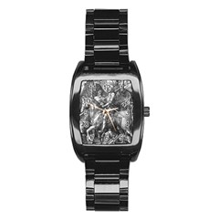 Death And The Devil   Albrecht D¨1rer Stainless Steel Barrel Watch