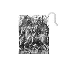Death And The Devil   Albrecht Dürer Drawstring Pouches (small)  by Valentinaart