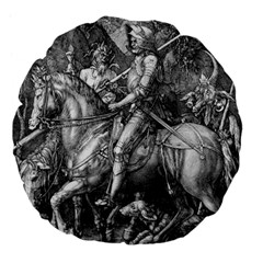 Death And The Devil   Albrecht D¨1rer Large 18  Premium Flano Round Cushions