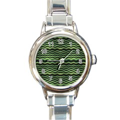 Modern Wavy Stripes Pattern Round Italian Charm Watch