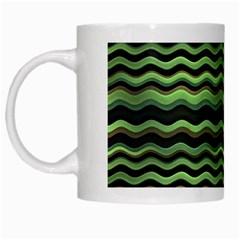 Modern Wavy Stripes Pattern White Mugs