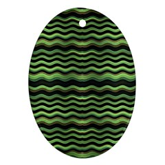 Modern Wavy Stripes Pattern Oval Ornament (two Sides) by dflcprints