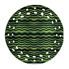 Modern Wavy Stripes Pattern Round Filigree Ornament (two Sides)