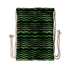 Modern Wavy Stripes Pattern Drawstring Bag (small) by dflcprints