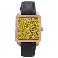 Sunflower Head (helianthus Annuus) Hungary Felsotold Rose Gold Leather Watch