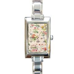 Vintage Flowers Wallpaper Pattern Rectangle Italian Charm Watch