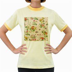 Vintage Flowers Wallpaper Pattern Women s Fitted Ringer T Shirts