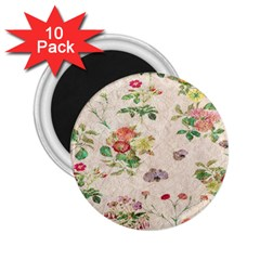 Vintage Flowers Wallpaper Pattern 2 25  Magnets (10 Pack)