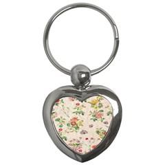 Vintage Flowers Wallpaper Pattern Key Chains (heart)