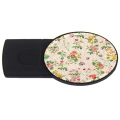 Vintage Flowers Wallpaper Pattern Usb Flash Drive Oval (2 Gb)