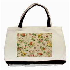 Vintage Flowers Wallpaper Pattern Basic Tote Bag