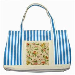 Vintage Flowers Wallpaper Pattern Striped Blue Tote Bag